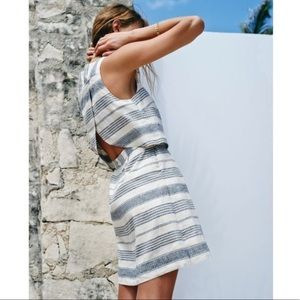 Madewell Linen Stripe Overlay Open Back Dress